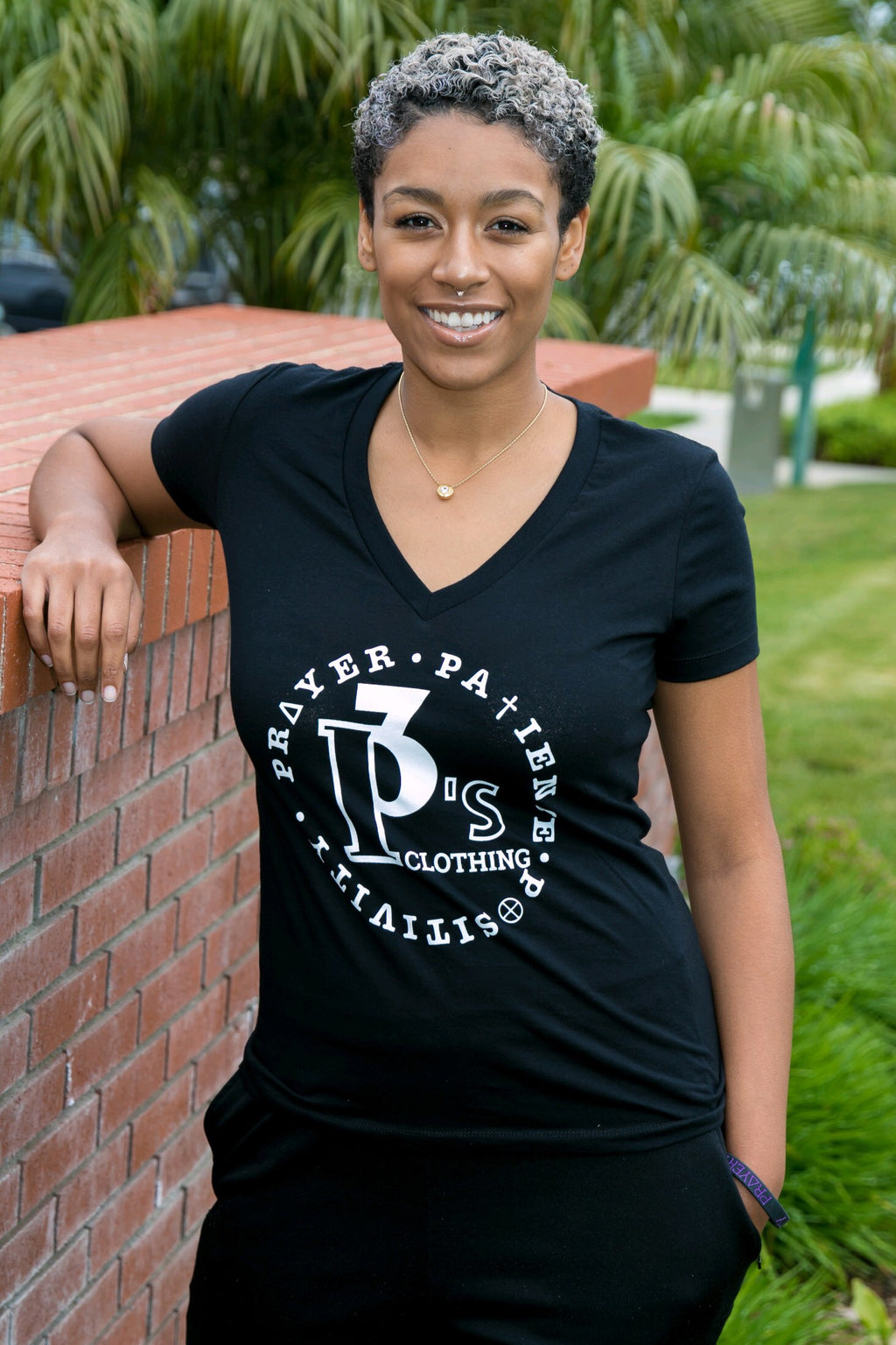 """Circle of Principles"" Ladies V-Neck - 3 P's Clothing"