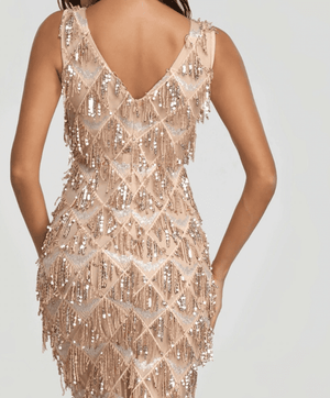 brandnewer - Tassel Sequin Sleeveless Elegant Evening Dress