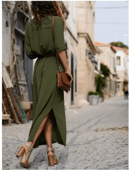 Casual button long shirt maxi women dress