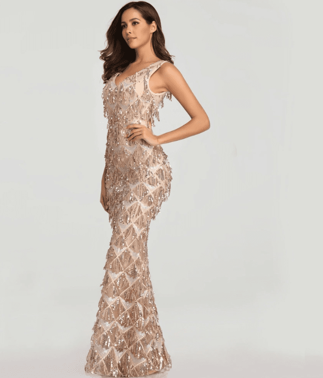 Tassel Sequin Sleeveless Elegant Evening Dress