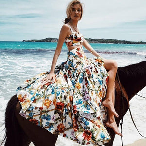 Floral Summer Bohemian Two Piece Long Sexy Dress
