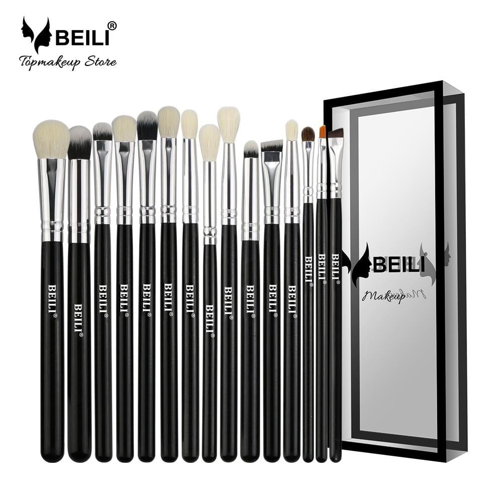 15 Pieces Natural Goat Pony Hair Makeup Brushes Set