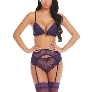 brandnewer - 3 Pieces Sexy Lingerie Lace Floral G-String Garter Set