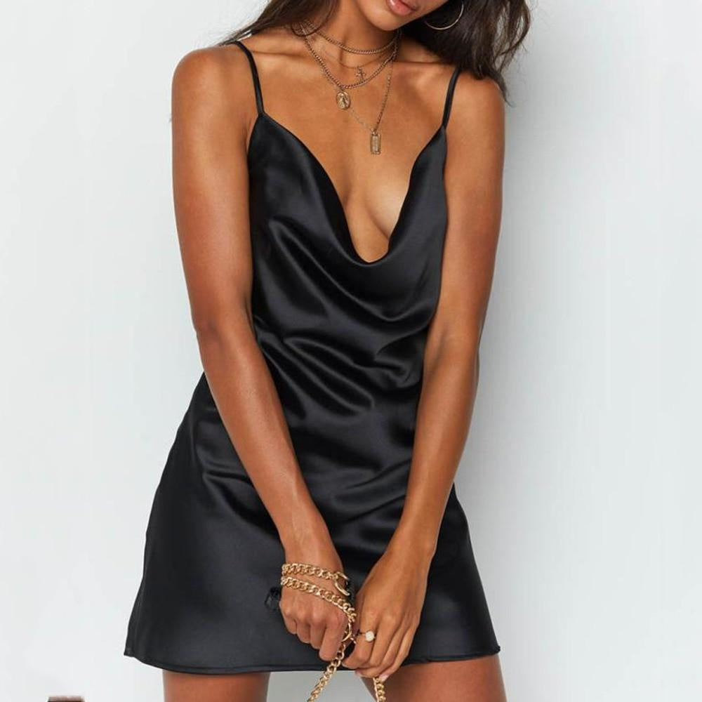 Women Spaghetti Strap V Neck Sleeveless Backless Mini Dress