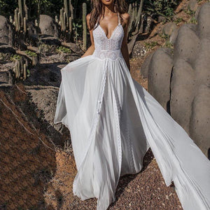 White Lace Long Elegant Layered Transparent Backless Chiffon Maxi Dress
