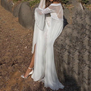 brandnewer - White Lace Long Elegant Layered Transparent Backless Chiffon Maxi Dress