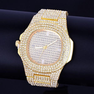 brandnewer - Red Big Dial Rhinestone Waterproof Luxury Watches