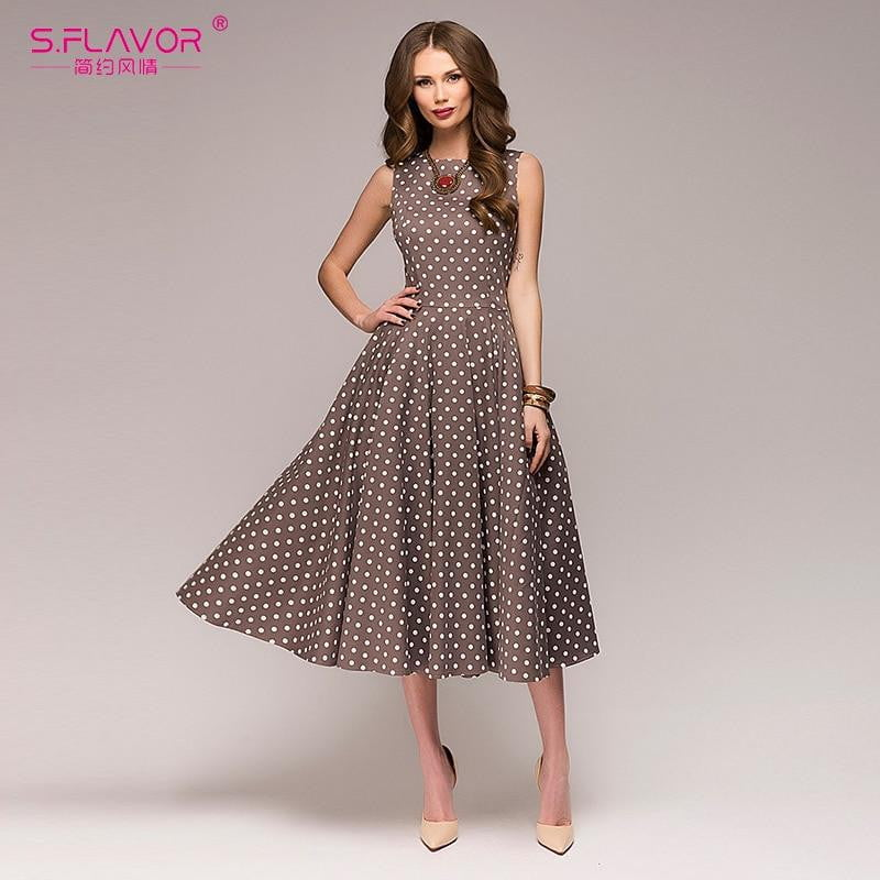 Elegant Summer Dots Printed Sleeveless O-neck Dress