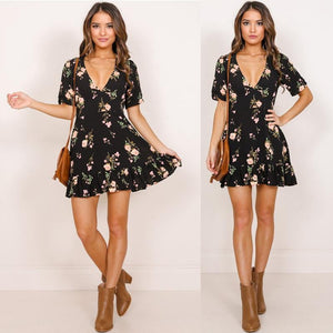 brandnewer - Mini Boho Floral Summer Dress