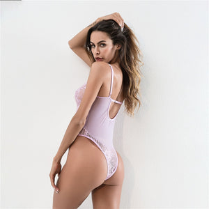 brandnewer - Sexy Sheer Lace Backless Transparent Mesh Bodysuits