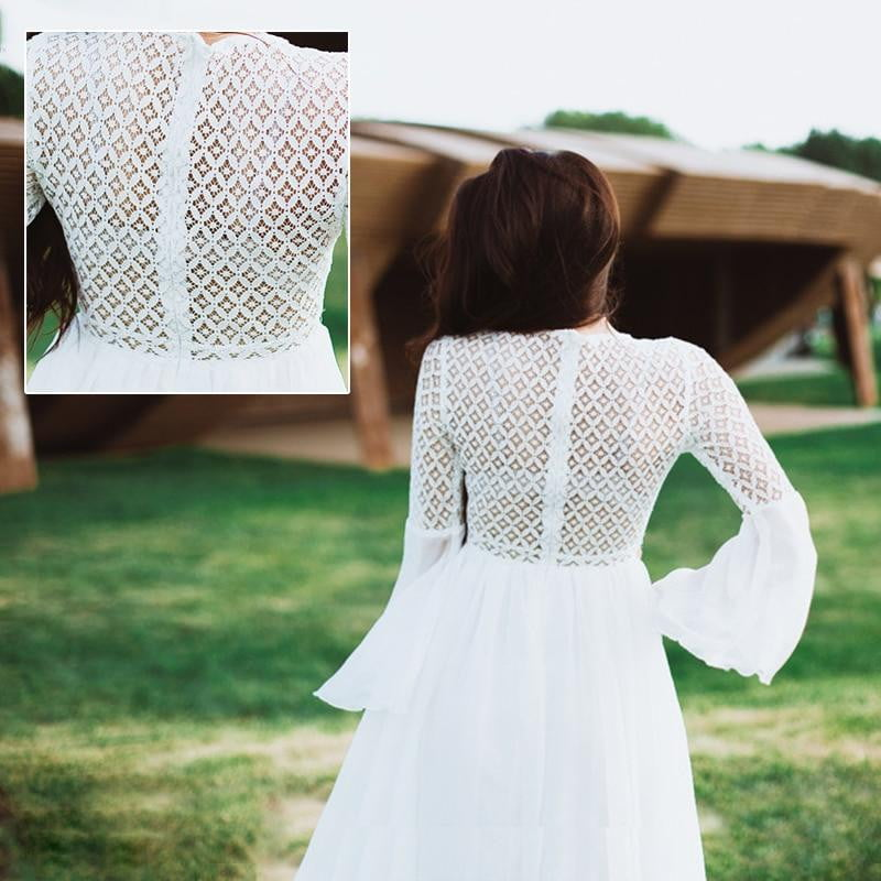White Lace Embroidery Dress with Long Flared Sleeve V Neck