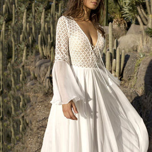 brandnewer - White Lace Embroidery Dress with Long Flared Sleeve V Neck