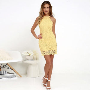 brandnewer - Elegant Halter Neck Sleeveless Lace Dress