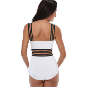 brandnewer - Sexy One Piece High Neck Bandage Cross Back Neck Swimwear