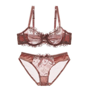 brandnewer - Ultra Thin Embroidery Transparent Bra And Panties Lace Lingerie Set
