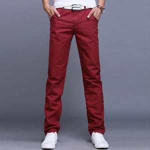 brandnewer - Men Business Cotton Slim Straight Trousers