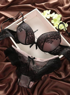 brandnewer - Deep V-Neck Push Up Underwear With Vintage Solid Color Bra Set