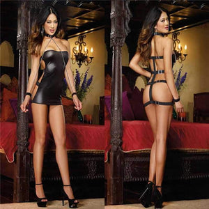 brandnewer - Sexy Bandage Costumes Black Wet Look Micro Mini Dress