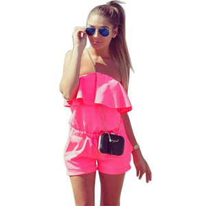 Casual Ruffles Strapless Waist Tightening Candy Color Dress