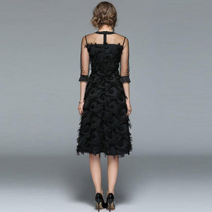 brandnewer - Luxury Tassel O-neck Elegant Black Dress
