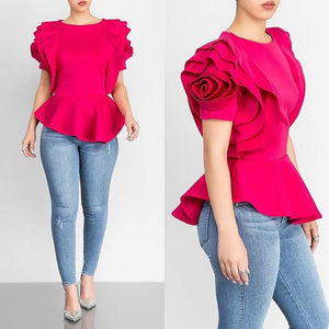brandnewer - Rose Shape Ruffles Sleeve Asymmetric Women's Shirt