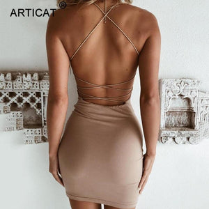 brandnewer - Criss Cross Bandage Backless Sexy Dress