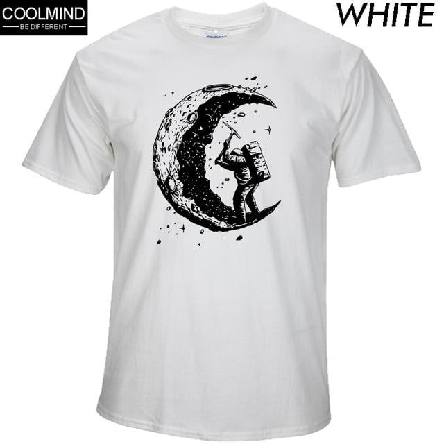 100% cotton digging the moon print men's o-neck t shirts