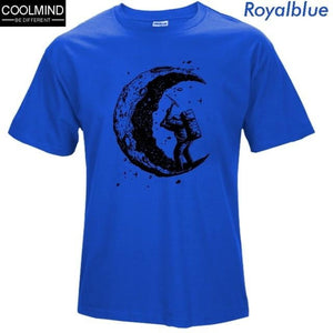 brandnewer - 100% cotton digging the moon print men's o-neck t shirts