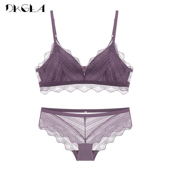 brandnewer - Thin Cotton Wire Free Embroider Lingerie with Deep V Gather