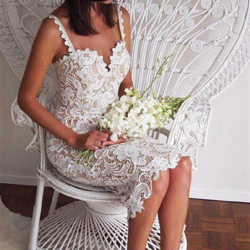 Designer White or Black Lace Crochet Hollow Out Slim Spaghetti Strap Dress