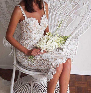 brandnewer - Designer White or Black Lace Crochet Hollow Out Slim Spaghetti Strap Dress