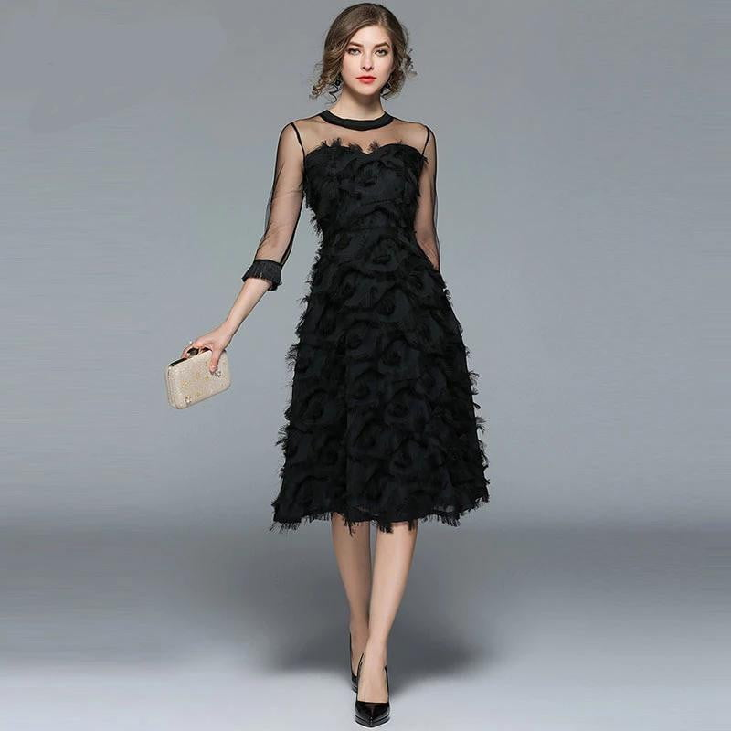 Luxury Tassel O-neck Elegant Black Dress