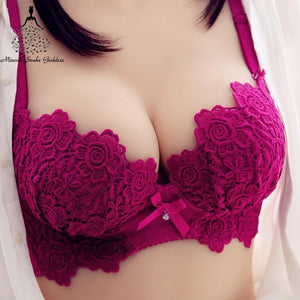 brandnewer - Cotton Embroidery Push Up Bra Panties Set