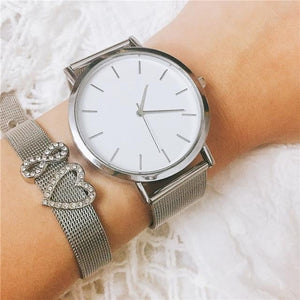 brandnewer - 2-3pcs Stainless Steel Mesh Bracelets with Wrap Watch Set
