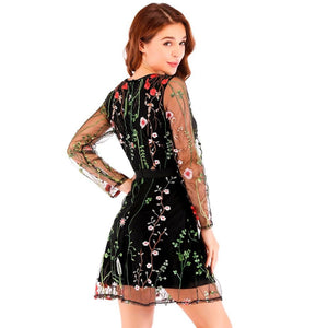 brandnewer - Sophisticated Floral Embroidery Sheer Mesh Summer Dress