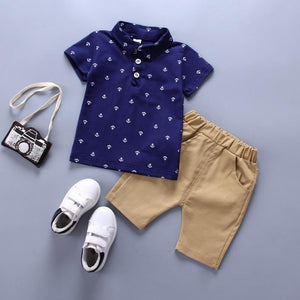 brandnewer - Anchor print or Navy blue White T shirts with Shorts set for 1-5 Years