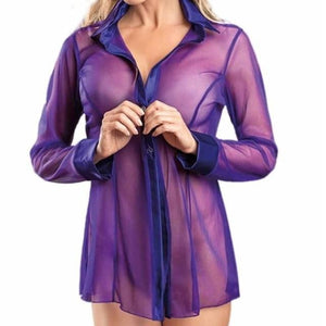brandnewer - Button Lingerie Sheer Long Sleeve Blouse Dress