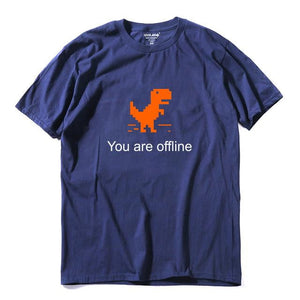 brandnewer - Cool Mind 100% cotton men Funny - You are offline Dino T Shirt
