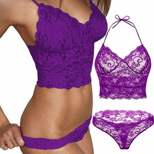 brandnewer - Hot Erotic Flowers Transparent Lace Lingerie Set