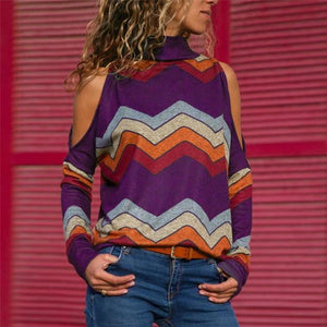 brandnewer - Turtleneck Knitted Striped Pullover Women's Shirt