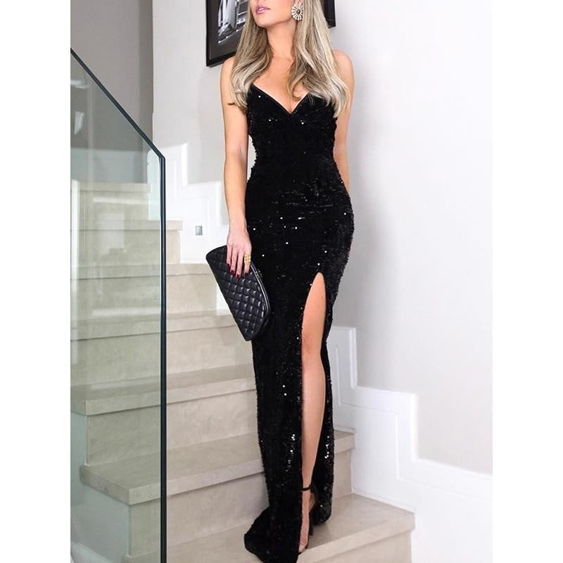 High Slit Spaghetti strap V Neck Sequin Dress
