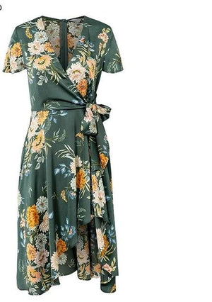 brandnewer - Designer elegant floral print satin wrap dress