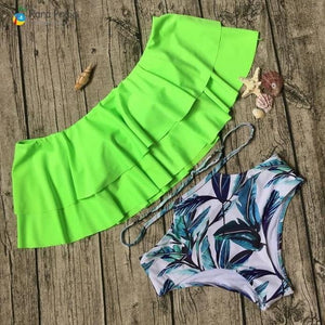 brandnewer - Palm Tree Push Up Bra Helter Ruffle Swimwear