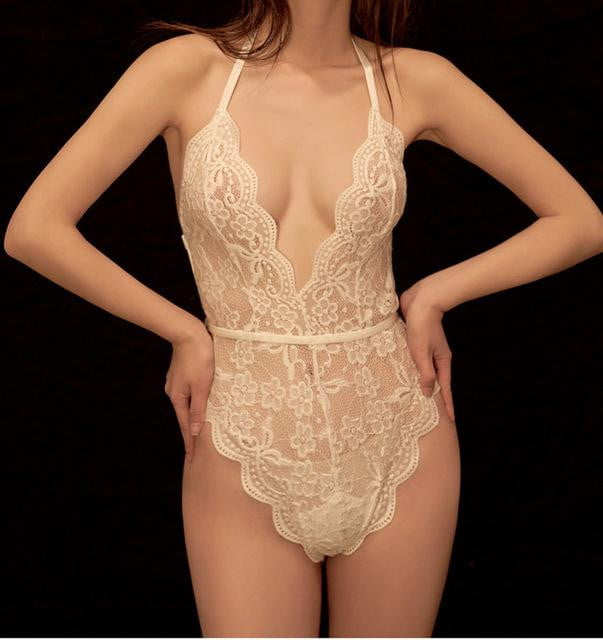 brandnewer - Transparent Seamless Embroidery Plus Size Sexy Lingerie Set