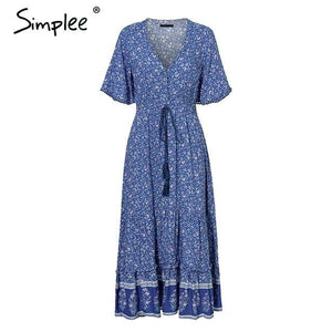 brandnewer - Bohemian Print Summer Dress
