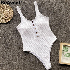 brandnewer - White stretch casual buttons mesh swimsuit