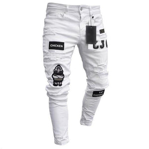 brandnewer - Destroyed Hole Taped Slim Fit Denim Scratched Jeans