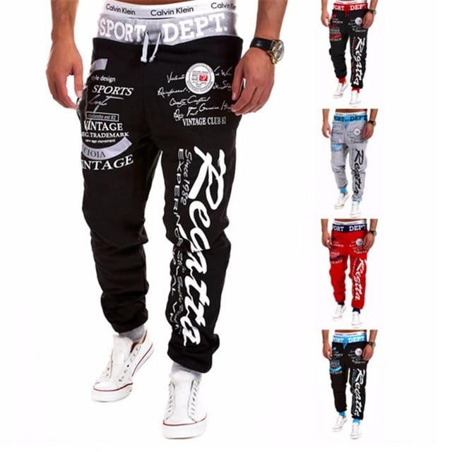 brandnewer - Mens Letter Printing Baggy Harem Cool Long Pants