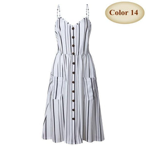 brandnewer - Strapped Patterned Button Dress