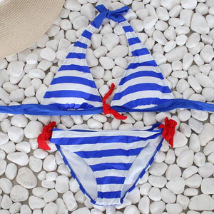 brandnewer - Brandnewer's Striped Beachwear Bathing Swimsuit